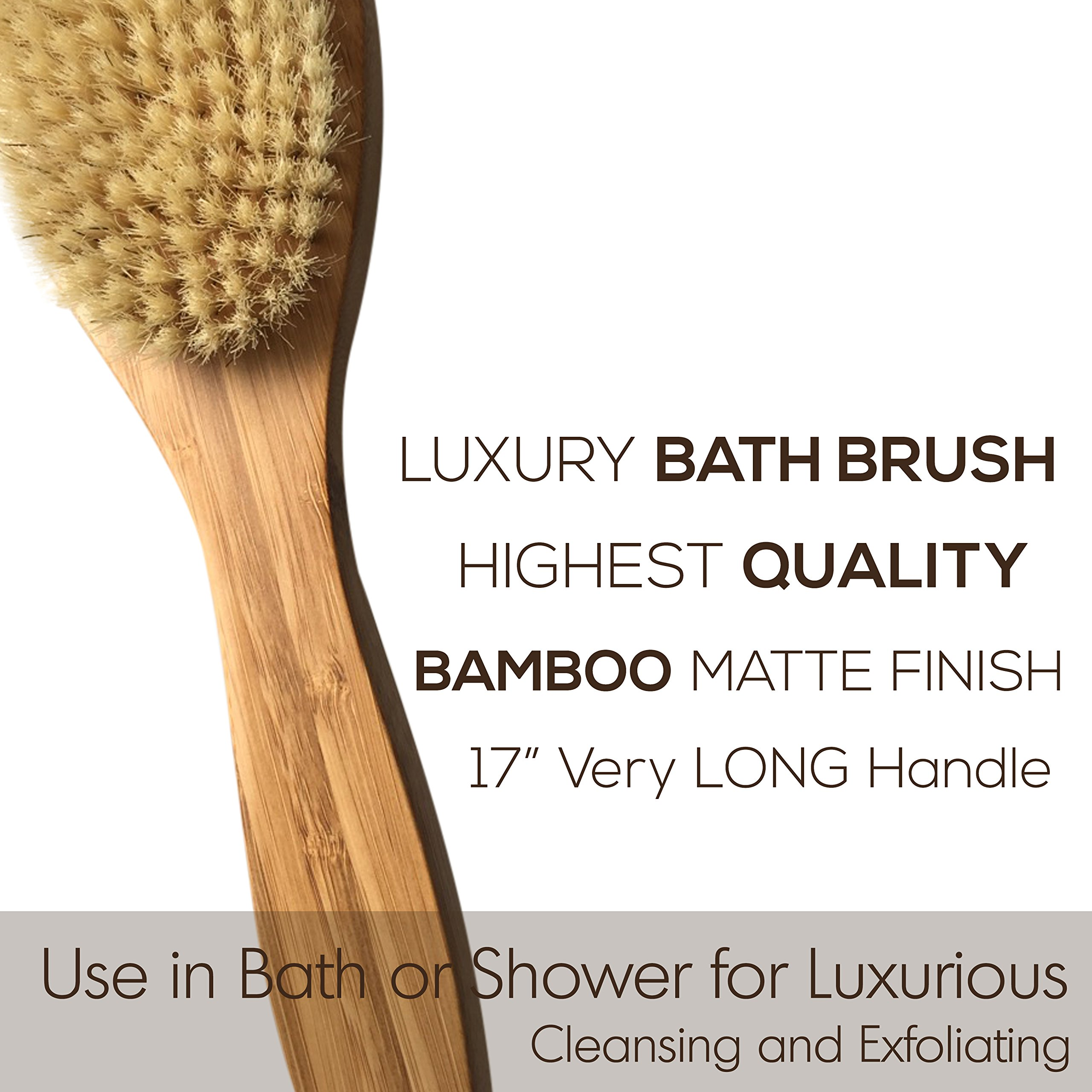 Bath & Relax Bamboo Bath Brush Long 17'' Handle Back Body Scrubber For shower dry/Wet Skin brushing Suitable for men/women by Bath & Relax (Image #4)