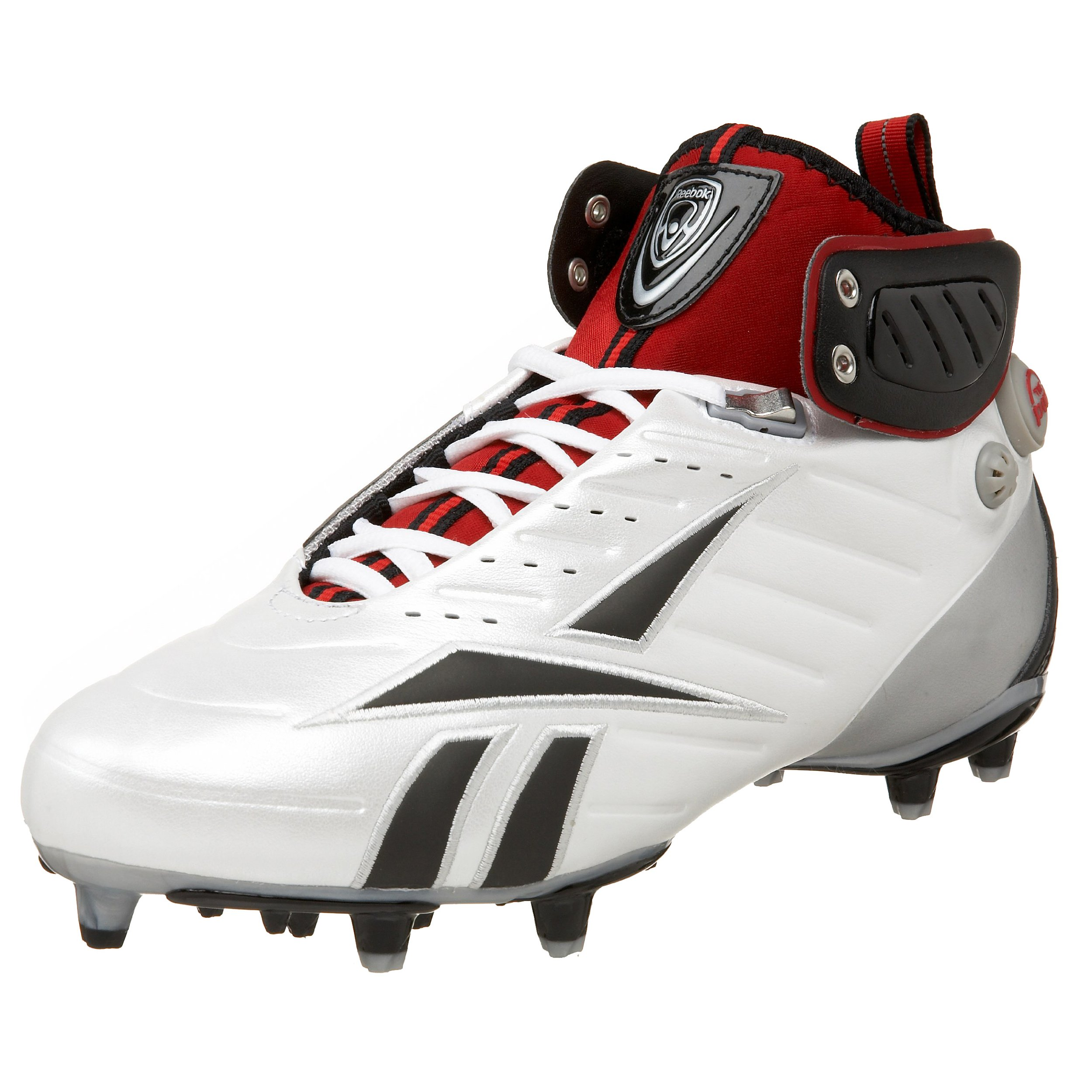 Reebok Men's Pump Bulldodge III M3 Lacrosse Shoe,White/Black/Silver/Red,12 M US