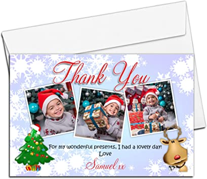 Personalised Thank You Xmas Photo Christmas Cards Folded Postcards Family Baby 1