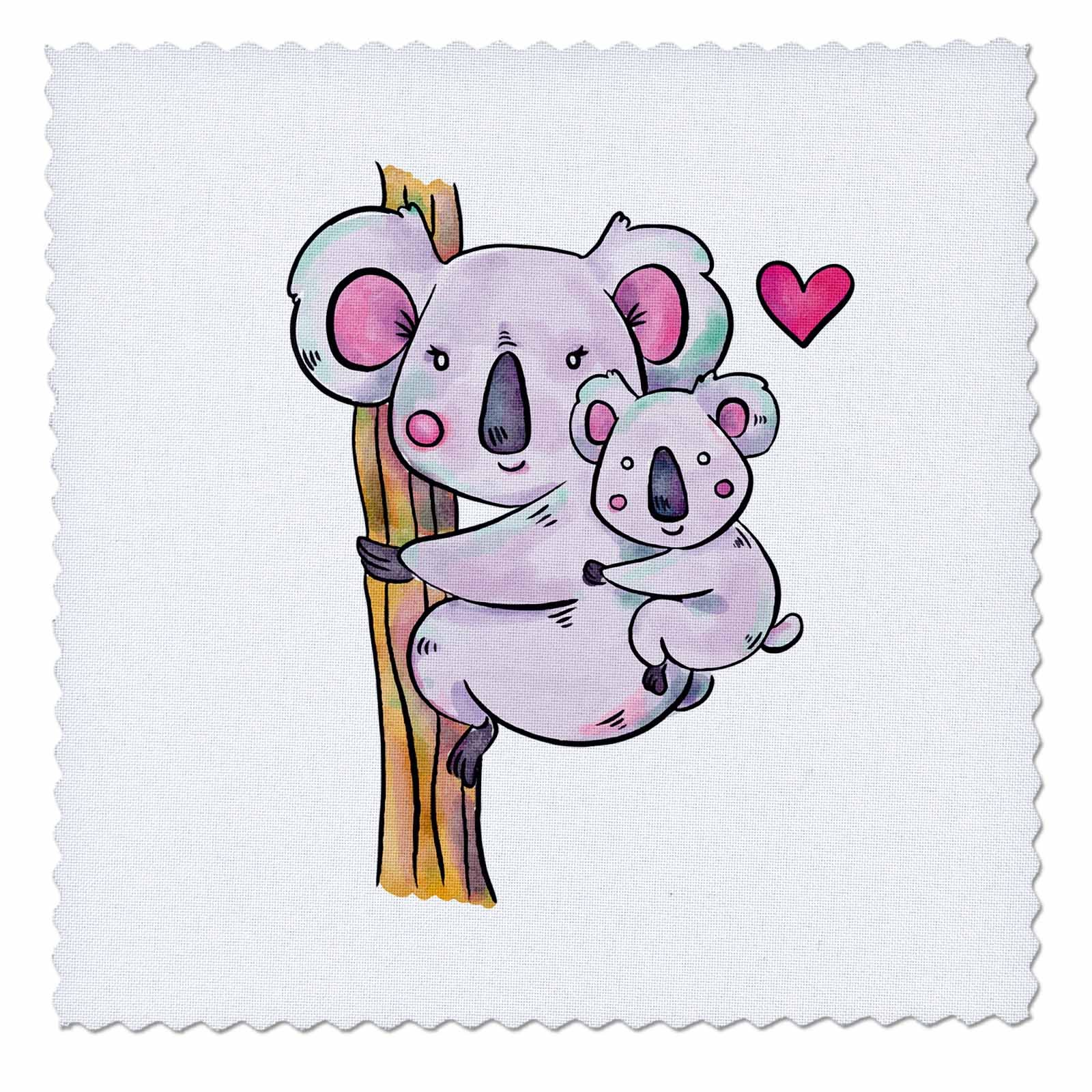 3dRose Sven Herkenrath Animal - Australia Koala Bear Child and Mother with Purple Colors - 12x12 inch quilt square (qs_280318_4) by 3dRose
