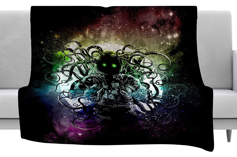 Kess InHouse Frederic Levy-Hadida Terror from Deep Space Teal Purple Throw 40 x 30 Fleece Blanket