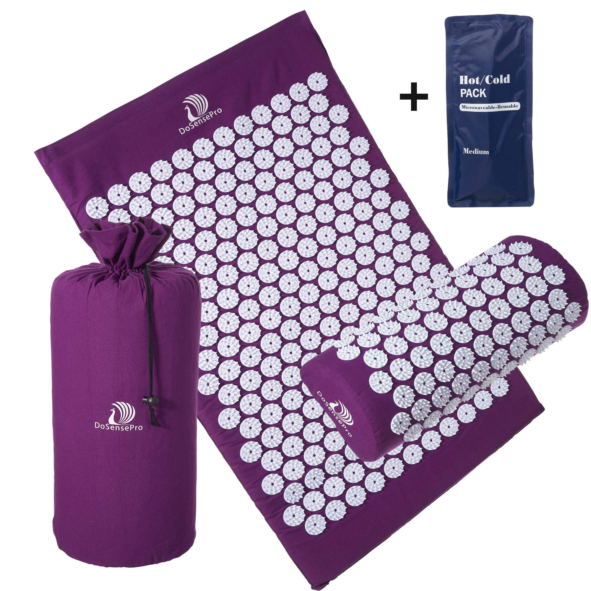 Acupressure Mat and Pillow Massage Set - by DoSensePro + Bonus Hot and Cold Gel Pack. Acupuncture Floor Pad with Travel Pouch Tote Bag. Relieve Sciatic, Back, Neck Aches and Pain at Pressure Points.