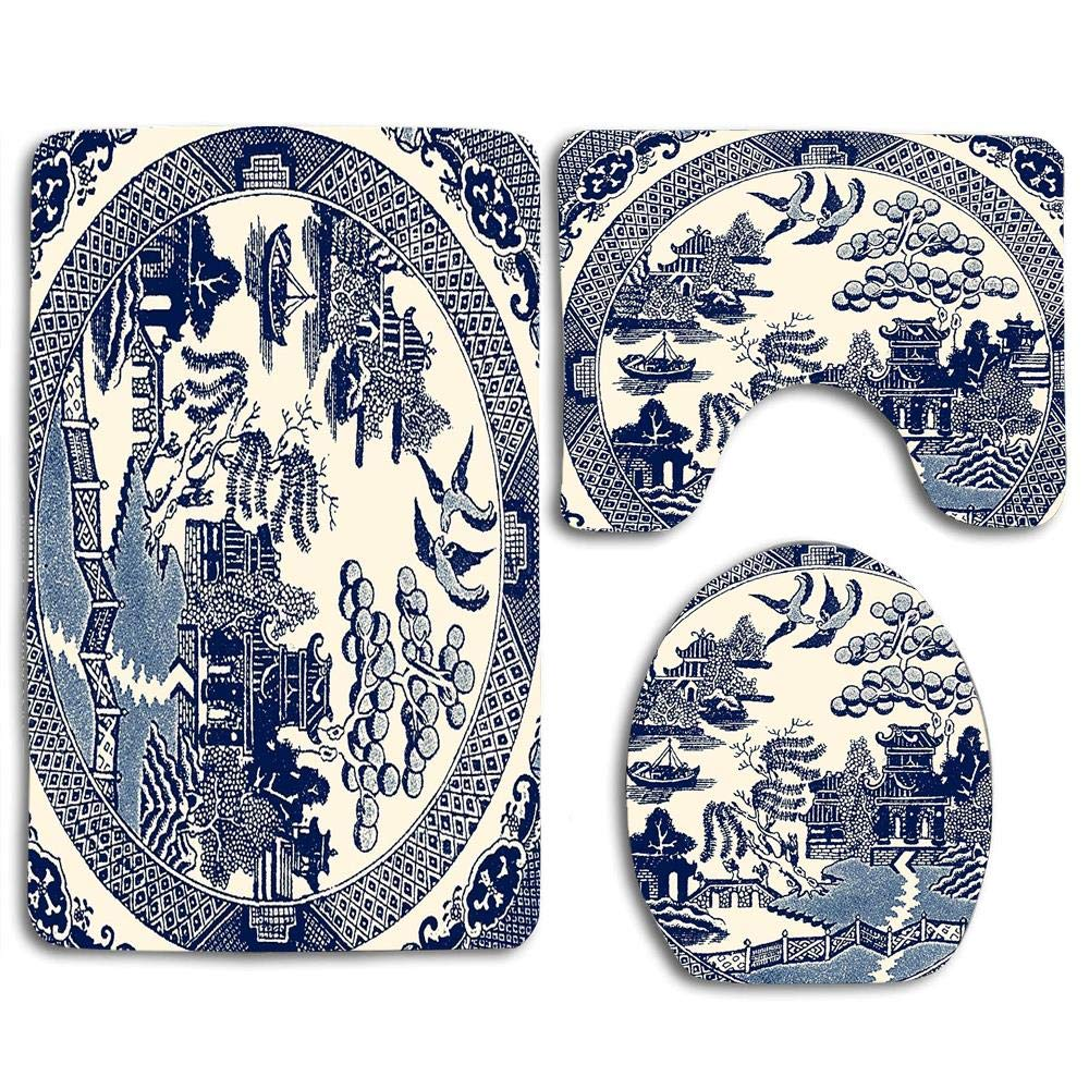 China Blue Willow Beautiful Toilet Lid Cover Wood Soft Comfort Washroom Mats,Non-Slip Absorbent Toilet Seat Cover Bath Mat Lid Cover,3pcs/Set Rugs