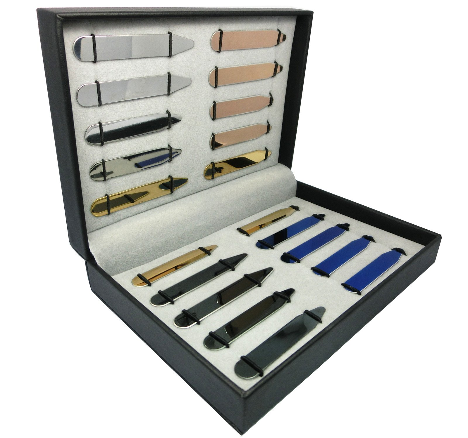 Shang Zun 20 pcs Stainless Steel Collar Stays 5 Colors in a Box - 5 Sizes