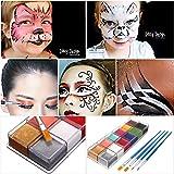 LuckyFine Cara Cuerpo Pintura al óleo Maquillaje Arte Paleta Set Halloween Party Kit 12 Colores DIY + 4Pcs Cepillos de Pintura