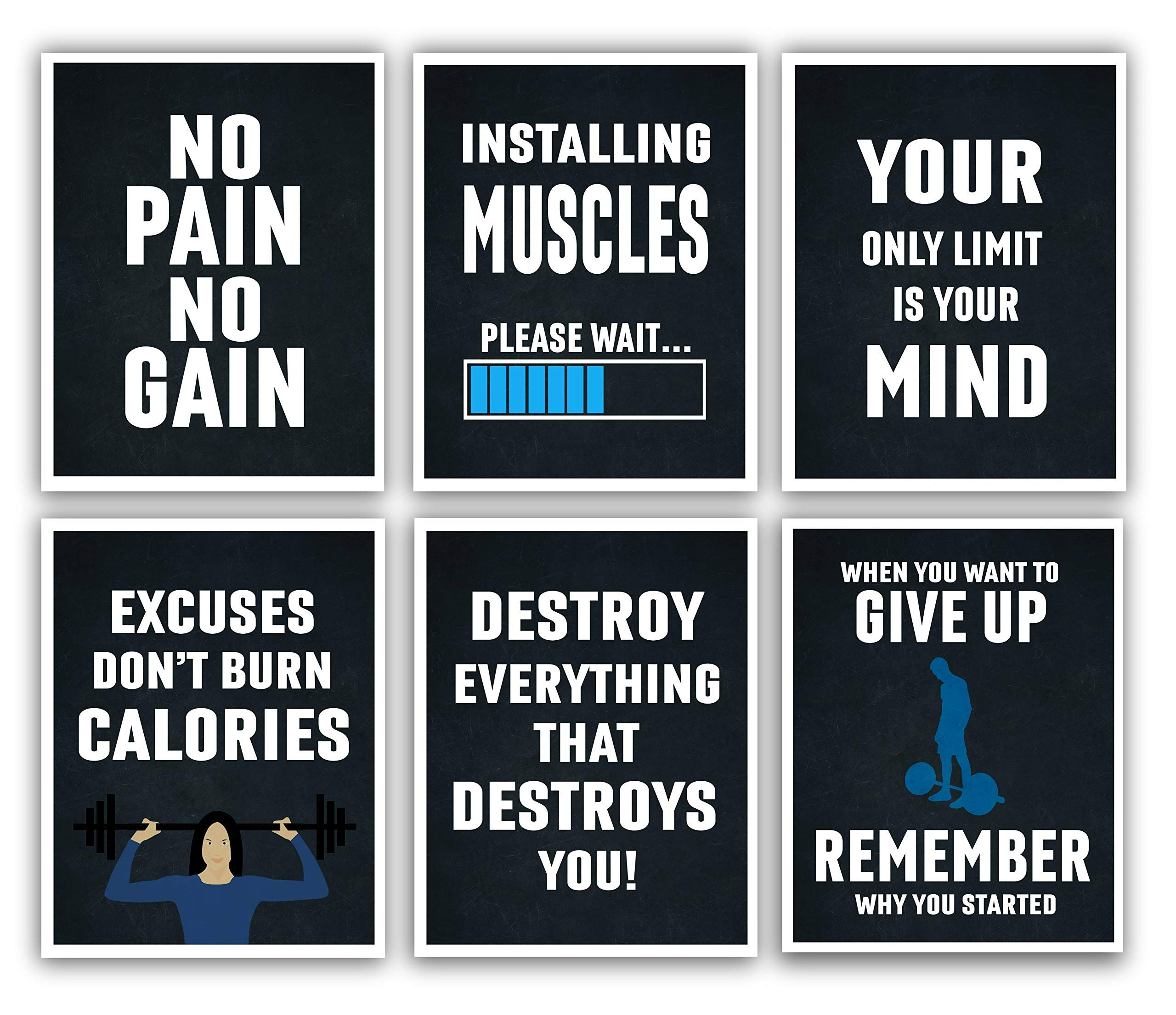 Motivational Posters - 11x14 Inches Set of 6 Inspirational Wall Art, Hustling, Entrepreneur Decoration - Positive Print Hustle [Unframed] - Shipped Flat Poster Paper