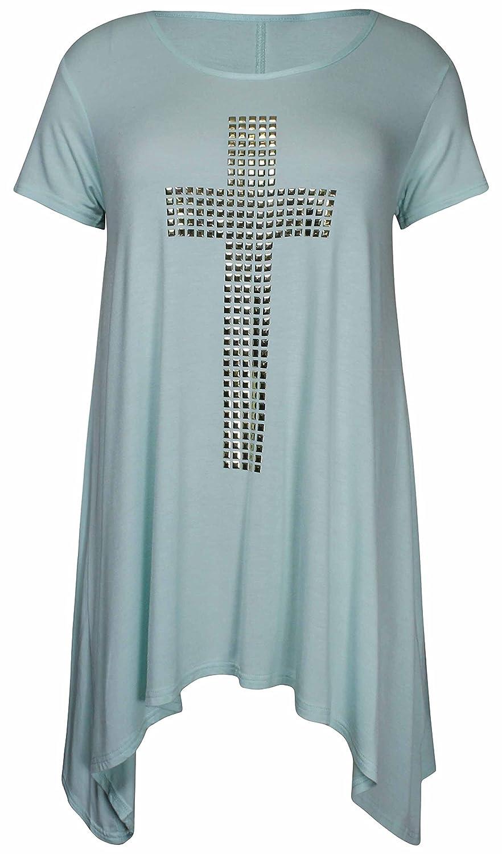 f1749cb3e8b New Womens Studded Plus Cross Ladies Short Sleeve Round Scoop Neckline Hanky  Uneven Shaped Hemline Stretch T-Shirt Long Top Plus Size  Amazon.co.uk  ...