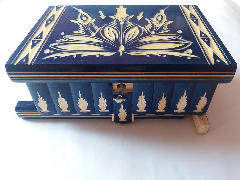 Grande caja puzzle enorme del rompecabezas de la caja azul, caja secreta, caja mágica, caja de joyería de almacenaje de madera caja tallada de la sorpresa, juguete de madera para los cabritos: