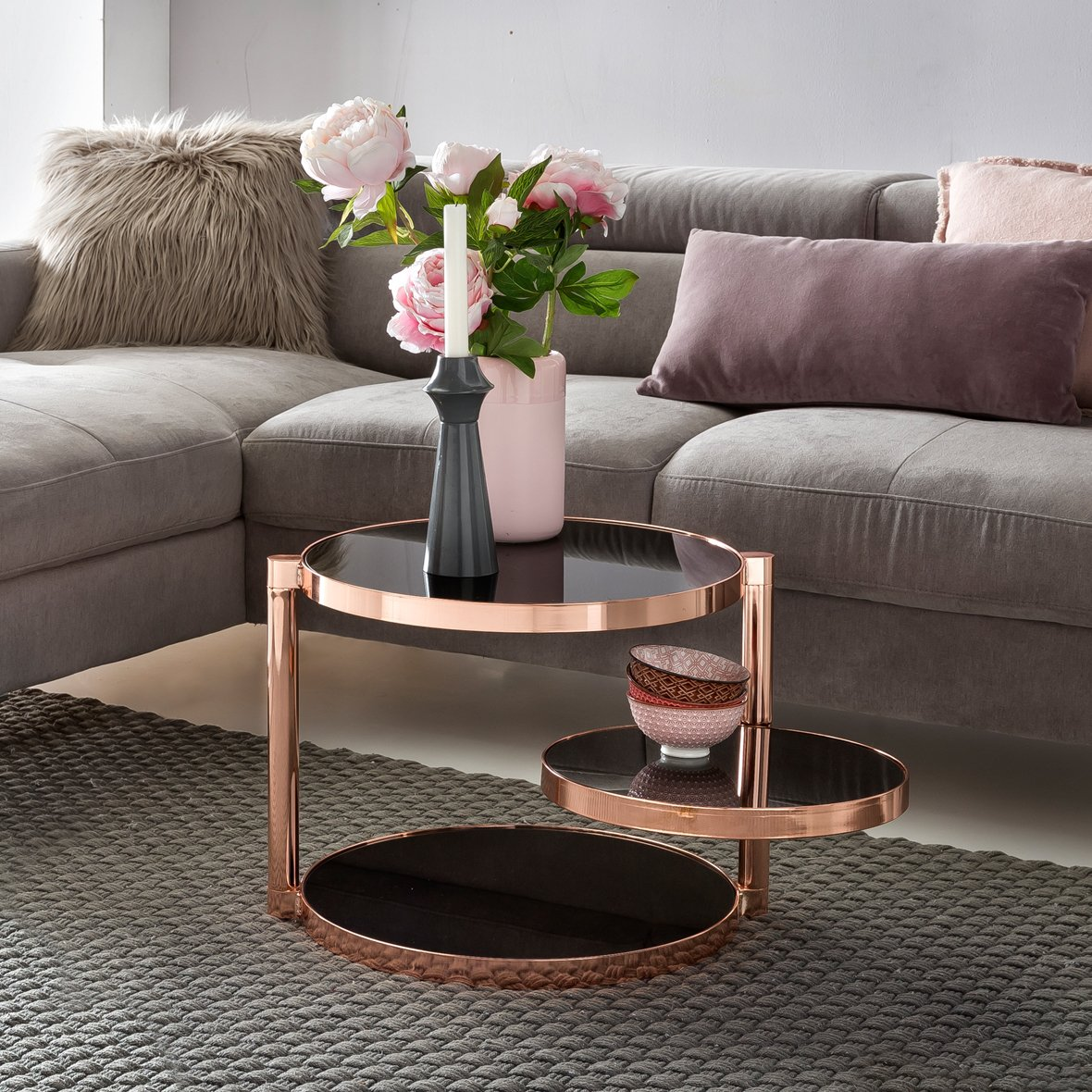 FineBuy Design Couchtisch Circle ø 45cm Rund Glas Kupfer mit Ablage   Wohnzimmertisch 3 Ebenen Glasplatte Schwarz   Beistelltisch Sofatisch Tisch Modern