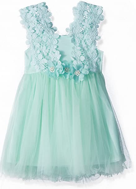 8daf181ba7e02 Elegant Feast Baby Girls Princess Lace Flower Tulle Tutu Gown Formal Party  Dress