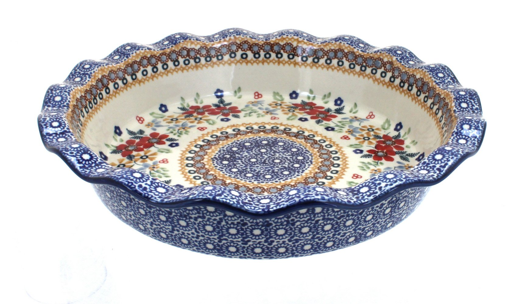 Polish Pottery Red Daisy Pie Plate