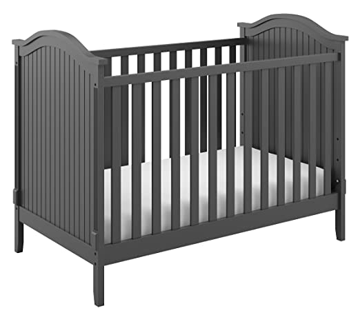 Storkcraft Monterey 3-in-1 Convertible Crib, Gray Easily Converts to Toddler Bed & Day Bed, 3-Position Adjustable Height Mattress