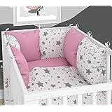3-teiliges Set: Babybett-Wäsche 100x135 cm mit Spannbettlaken und Kissen-Nestchen - sechs Kissen samt Bezügen für das Babybett 70x140 cm