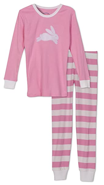 Amazon.com  Sara s Prints Girls Bunny   Stripes 2 Piece Pajama Set ... 63c115e76