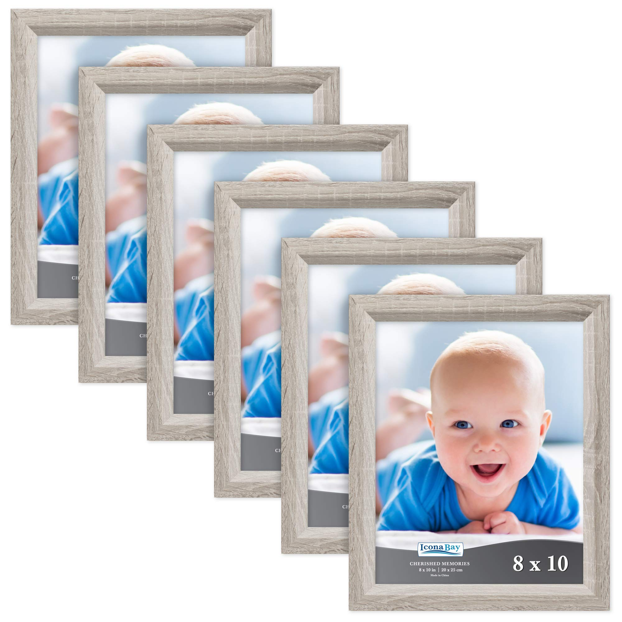 Icona Bay 8x10 Picture Frame (6 Pack, Heritage Gray Wood Finish), Black Photo Frame 8 x 10, Composite Wood Frame for Walls or Tables, Set of 6 Cherished Memories Collection