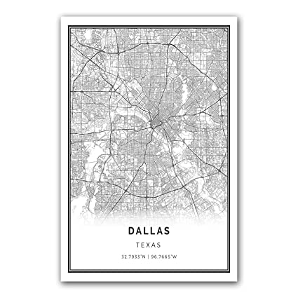 Dallas map poster print modern black and white wall art scandinavian home decor