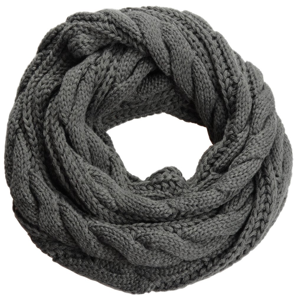 NEOSAN Womens Thick Ribbed Knit Winter Infinity Circle Loop Scarf Twist Charcoal