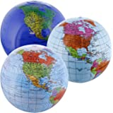 """TCP Global 12"""" Inflatable World Globes (Set of 3 Designs) - Political, Topographical - Fun & Educational, Learn Earth's Geography"""