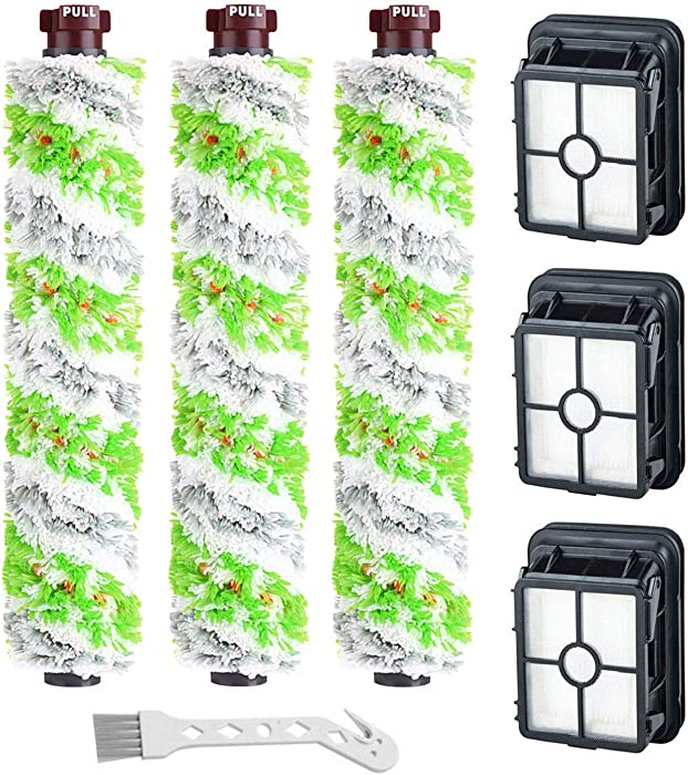 Lemige 3 Pack 2460 Multi-Surface Pet Pro Brush Rolls + 3 Pack 1866 Replacement Vacuum Filters for Bissell CrossWave Pet Pro 2306A & CrossWave 1785 Series, Compare to Part 1613568&161-3568, 1608684