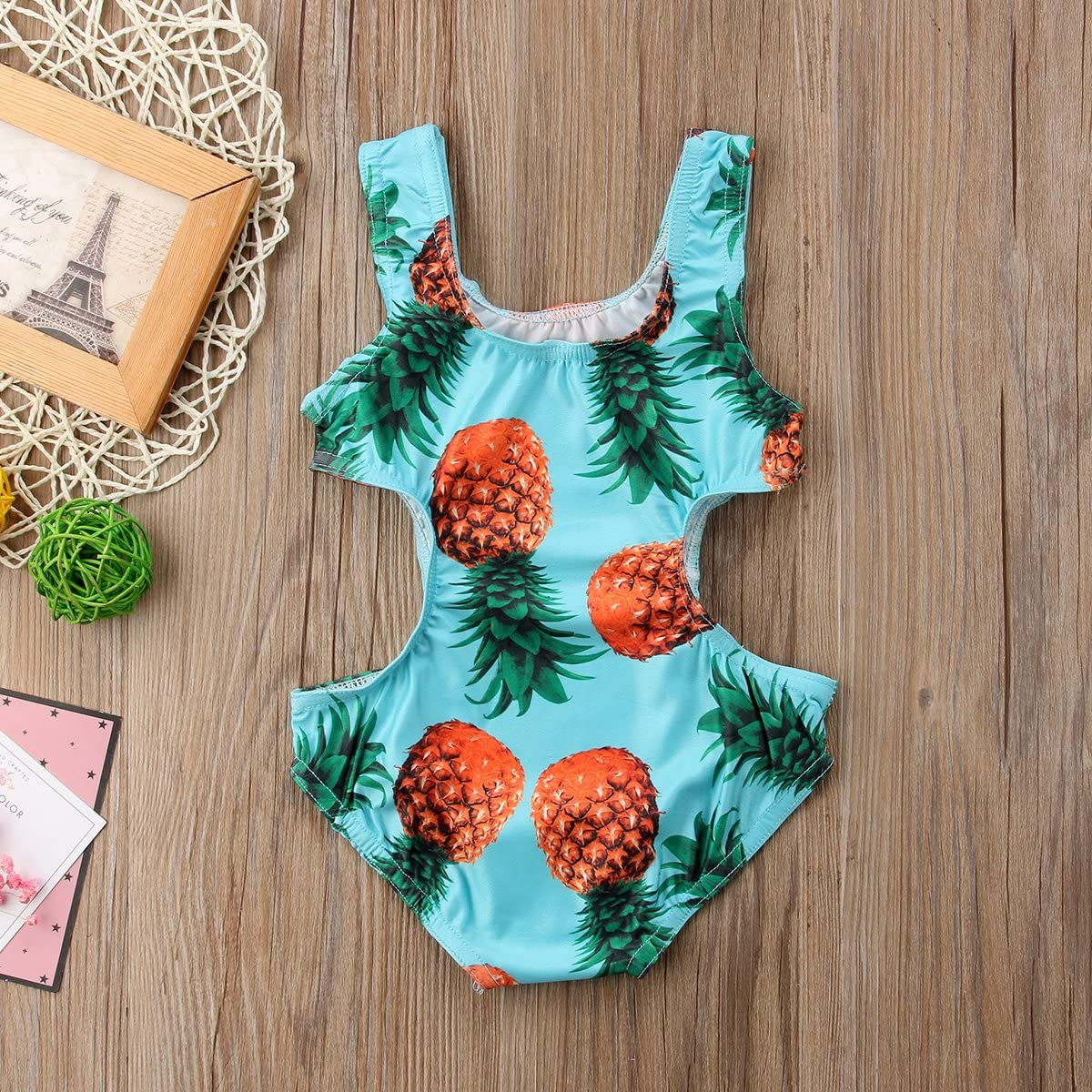 Pineapple Print Ruffle Straps Bathing Suit Jamlynbo Kids Baby Toddler Girls One-Piece Swimsuit