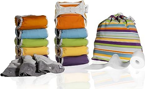 Close Parent 3121001115 - Pack de 10 pañales de tela en colores fuertes con interior de bambú + 3 absorbentes de noche + 80 forros + 1 bolsa impermeable: Amazon.es: Bebé