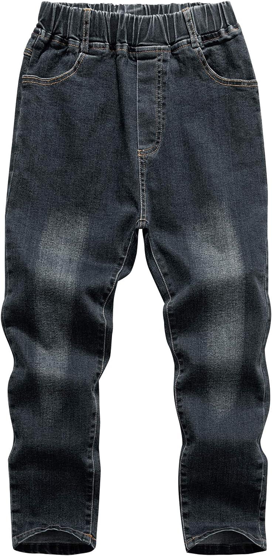 WIYOSHY Boys' Denim Jeans Elastic Waist Pants for Kids 3-12 Years (Black, 4)