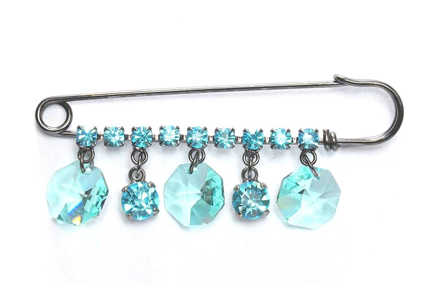 Amazon.com: Swarovski Crystal Kilt Pin Brooch with Aqua Drops in Gun ...