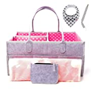 Large Portable Baby Diaper Caddy Organizer Bundle with Bonus Changing Pad, Bib, Pacifier Clip and Wallet, Cute Polka Dot Design for Boys, Girls, Nursery, Baby Showers, Baby Registry, Storage and More