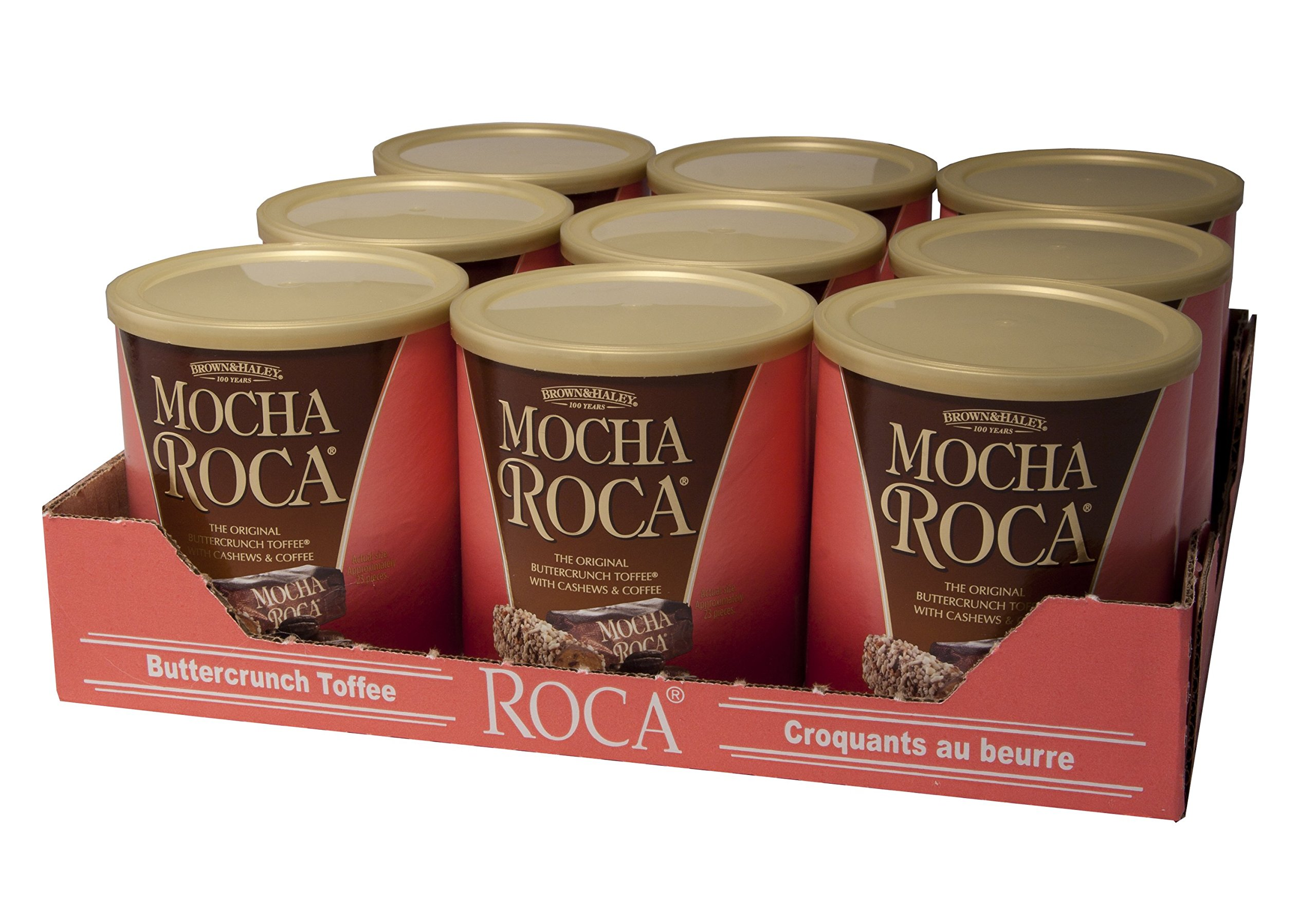 10 oz MOCHA ROCA Canister - Case of 9 Canisters by Roca