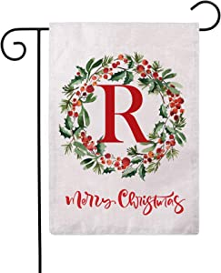 ULOVE LOVE YOURSELF Merry Christmas Wreath Decorative Garden Flags with Monogram Letter R Double Sided Winter Holiday Outdoor Garden Flags 12.5×18 Inch for House Garden Yard Patio Decor (R)