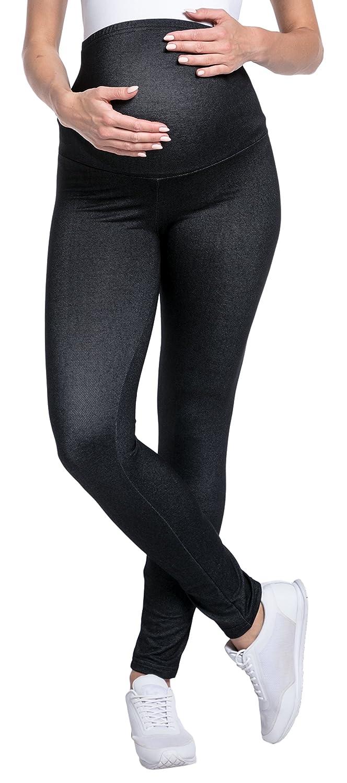 Womens Maternity Denim Look Leggings Overbump Waistband Pants 948p Happy Mama