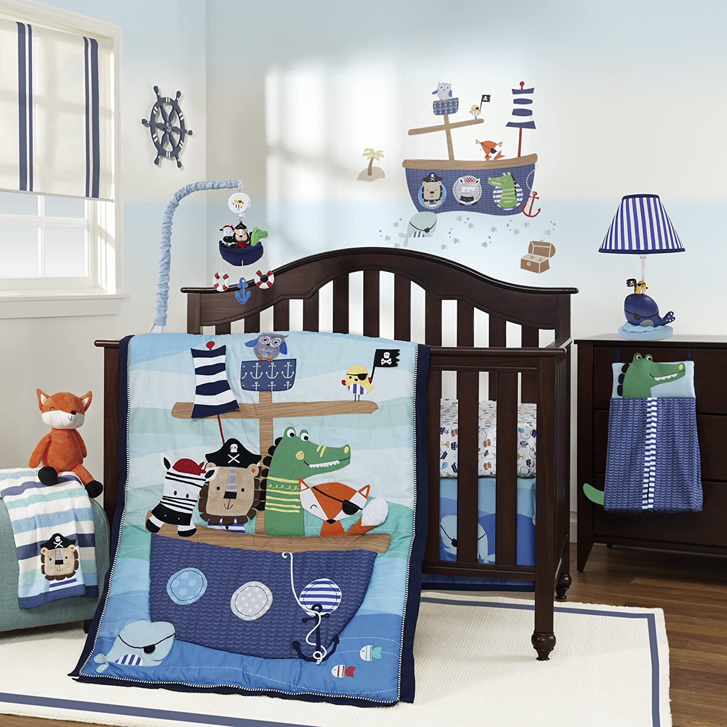amazon com lambs ivy little pirates 4 piece bedding set baby