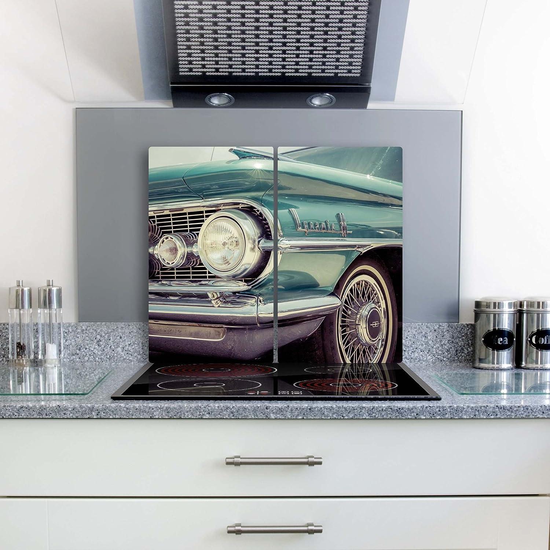 gsmarkt Herdabdeckplatten Ceranfeldabdeckung Spritzschutz Glas 2x30x52 Auto Türkis Retro