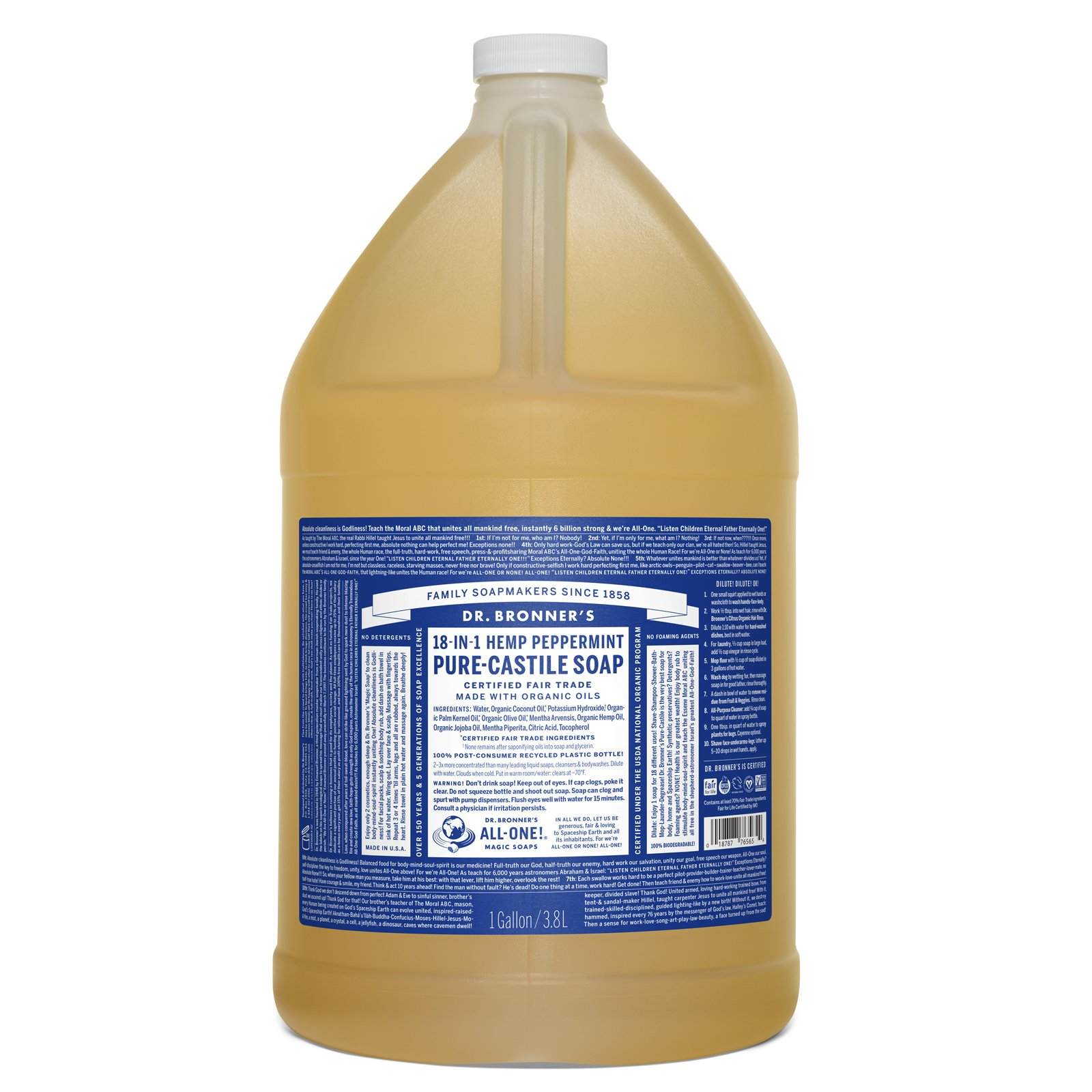 Dr. Bronner's Pure-Castile Liquid Soap - Peppermint, 1 Gallon