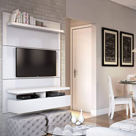 Manhattan Comfort City 1.2 Collection Floating Entertainment Center with TV Mount Wall Theater Display, 47.2 L x 14.9 D x 63.4 H, White Gloss