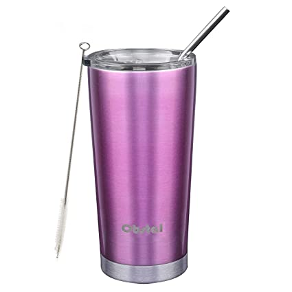 4ef95fbbb8c Obstal Stainless Steel Insulated Tumbler - Double Wall Vacuum Travel Mug  for Coffee with Straw, Slider Lid, Cleaning Brush (20 oz, Fuchsia)