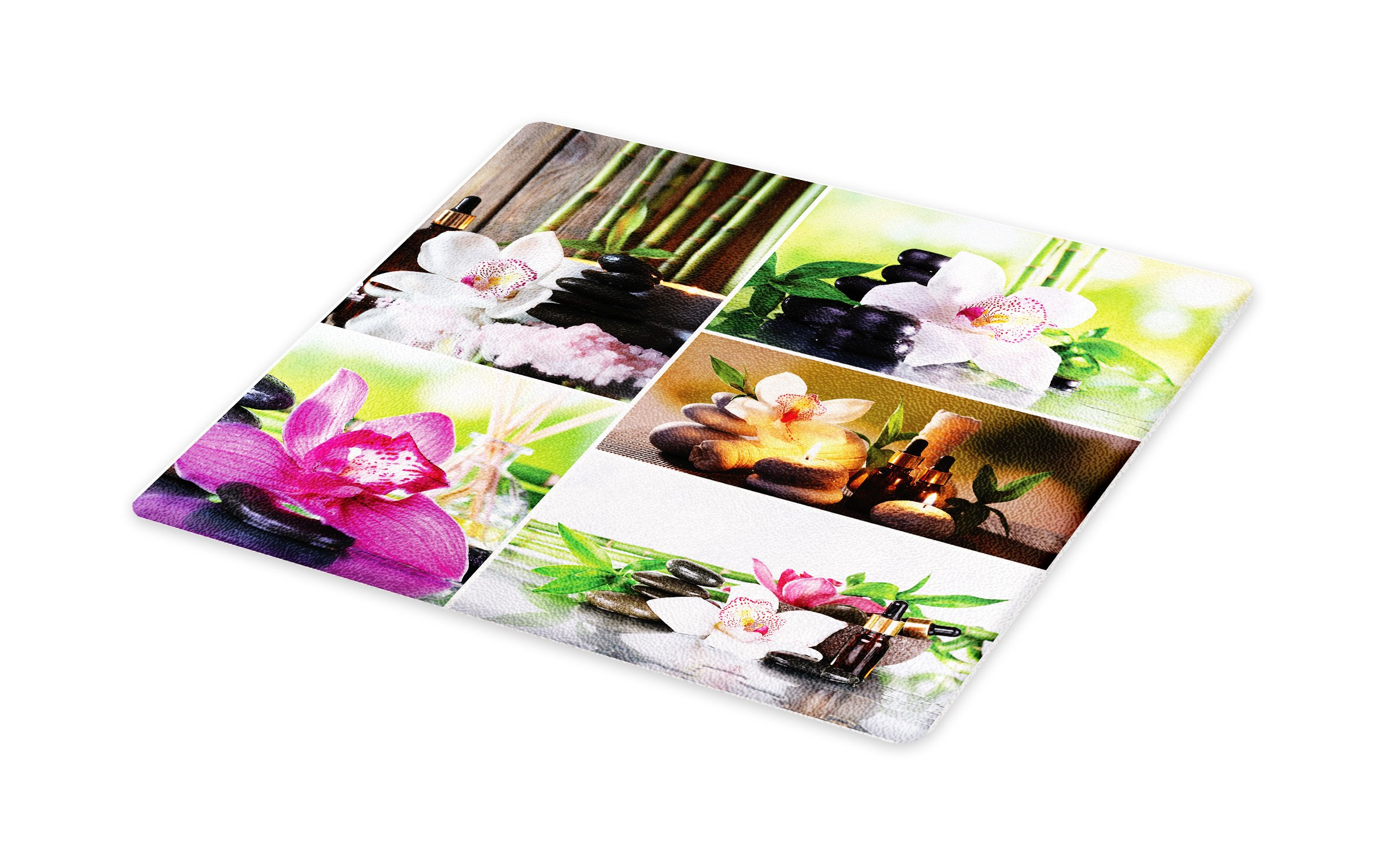 Lunarable Spa Cutting Board, Spa Day Collage with Orchids Stone Pebbles Natural Herbal Oils Body and Mind Treatment, Decorative Tempered Glass Cutting and Serving Board, Small Size, Multicolor