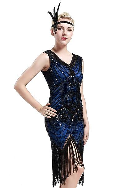 ed5af5bb9e8 BABEYOND Women s Flapper Dresses 1920s V Neck Beaded Fringed Great Gatsby  Dress (S