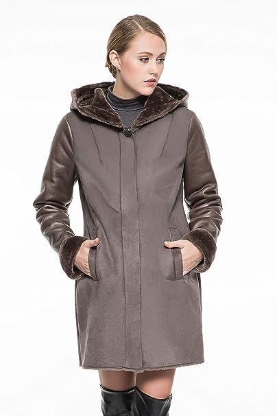 Adelaqueen - Abrigo de Ante sintético para Mujer, Color marrón, con Forro Polar y Capucha Marrón marrón XXX-Large: Amazon.es: Ropa y accesorios