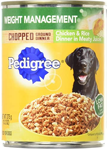 Pedigree Chopped Ground Dinner Weight Management Chicken And Rice Wet Dog Food 13.2 Oz. 12 Count