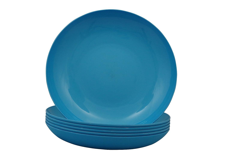 Cao Juego de platos hondos 6 unidades, 22 cm, color azul