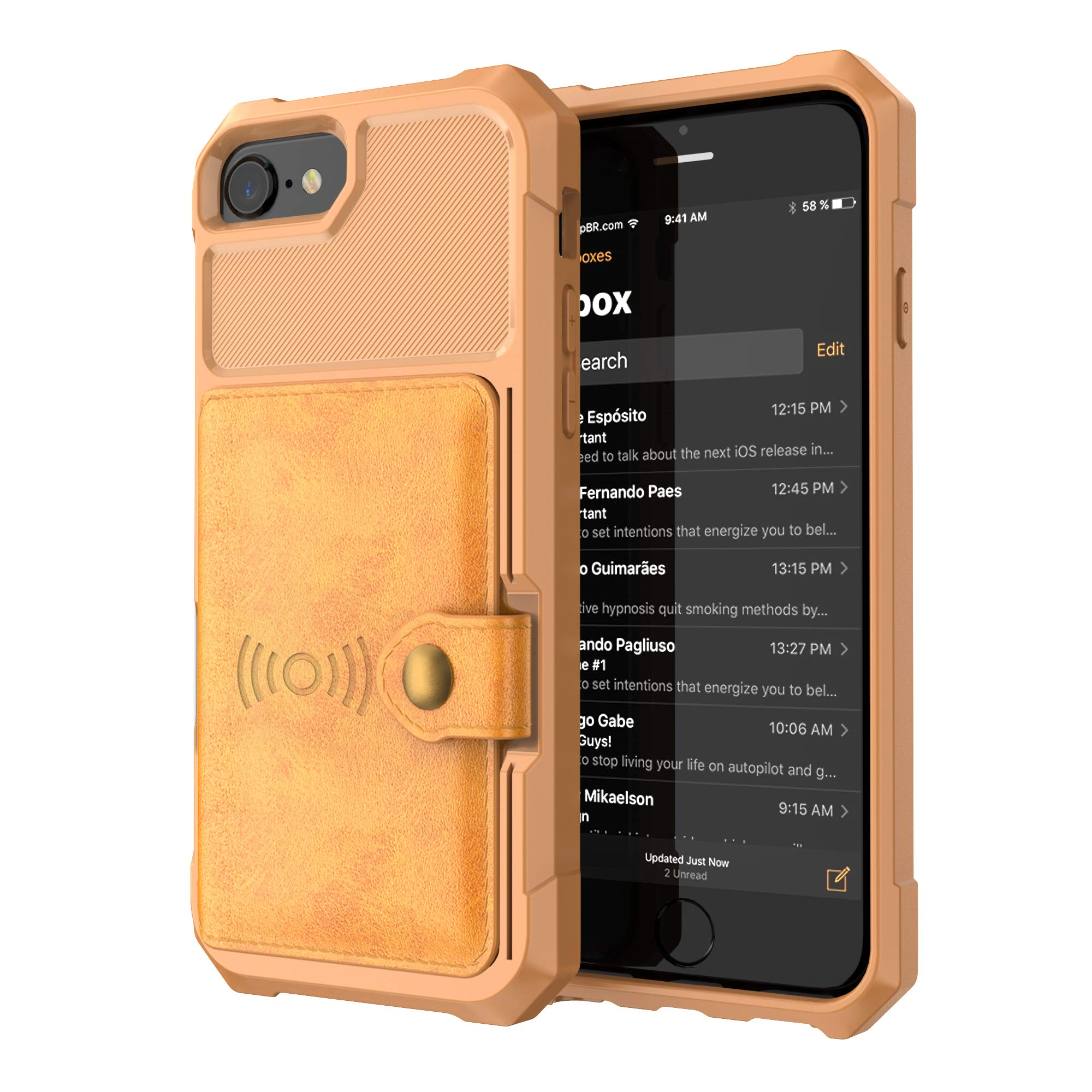 iPhone 8 Case, iPhone 7 Case, Tznzxm Heavy Duty Rubber Full Body Flip with Card Holder Magnetic Car Buckle Shockproof Drop Protection Kickstand Anti-Scratch Back Case for iPhone 7 / iPhone 8 Brown by Tznzxm