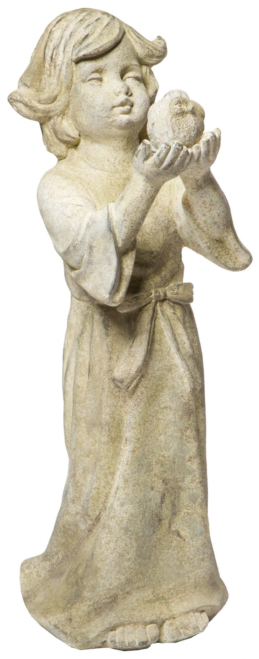 Alfresco Home Child Holding Bird Statuary, Aged Stone