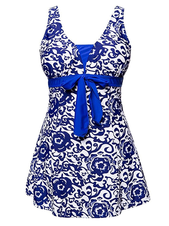 American Trends Swimdress Floral Plus Size Swimsuit Oriental Porcelain Monokinis ATACBS1748G0000