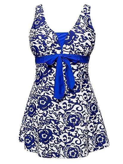 470da73bd5d Zando Womens Plus Size High Waist One Piece Swimdress Floral Printed Tummy  Control Swimwear Skirted Swimsuit
