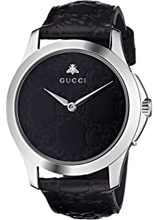 Gucci Quartz Stainless Steel and Leather Casual Black Watch (Model: YA1264031)