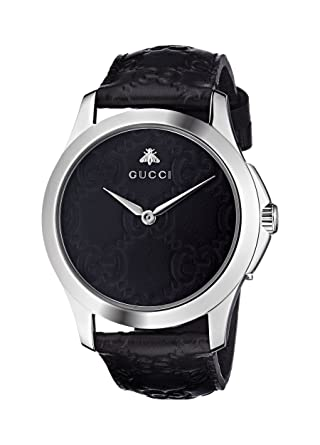 5fe96b67bd9 Amazon.com  Gucci Quartz Stainless Steel and Leather Casual Black ...