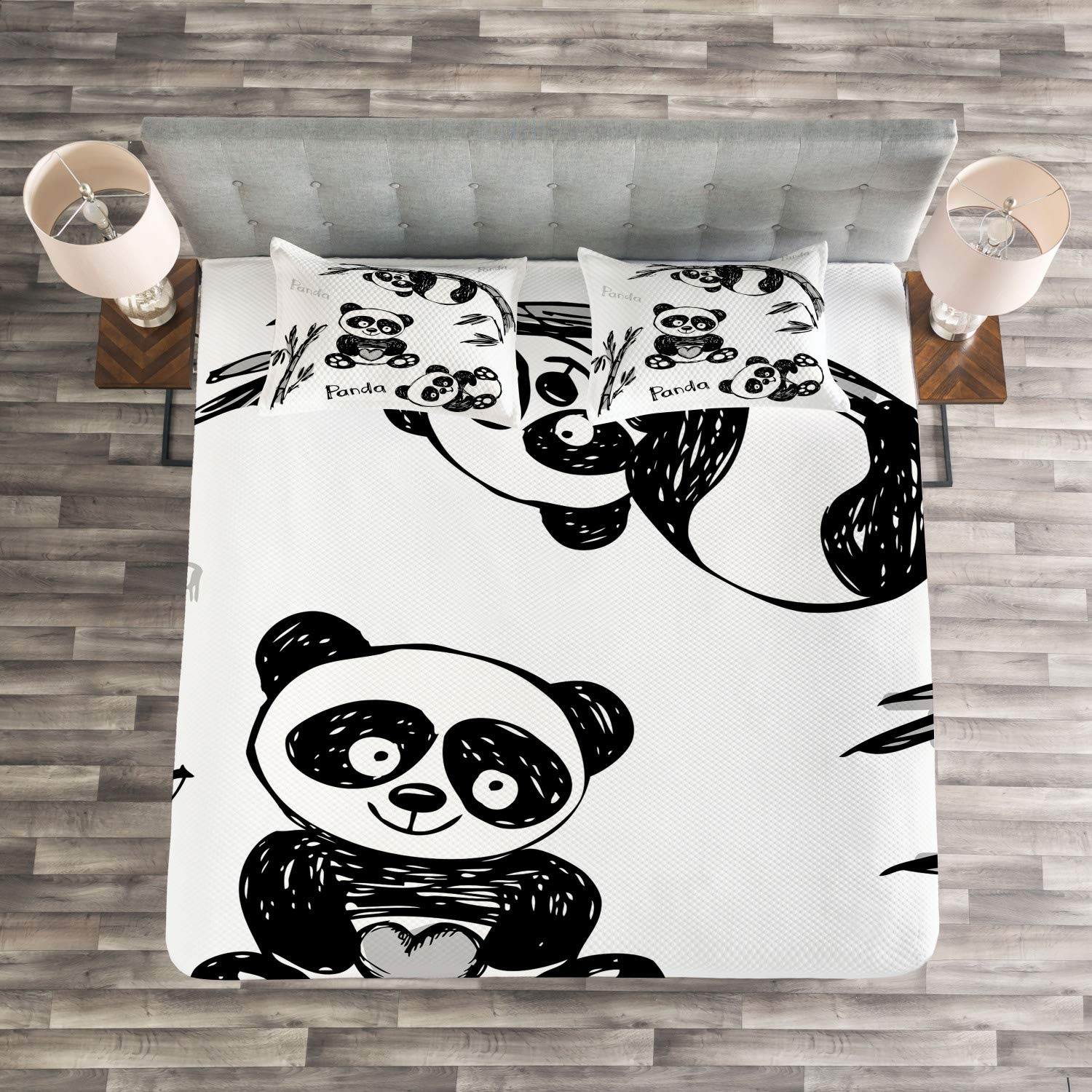 Queen Size Cheerful Animal Different Poses Bamboo Branch Children Painting Print Decorative Quilted 3 Piece Coverlet Set with 2 Pillow Shams Ambesonne Panda Bedspread Black White