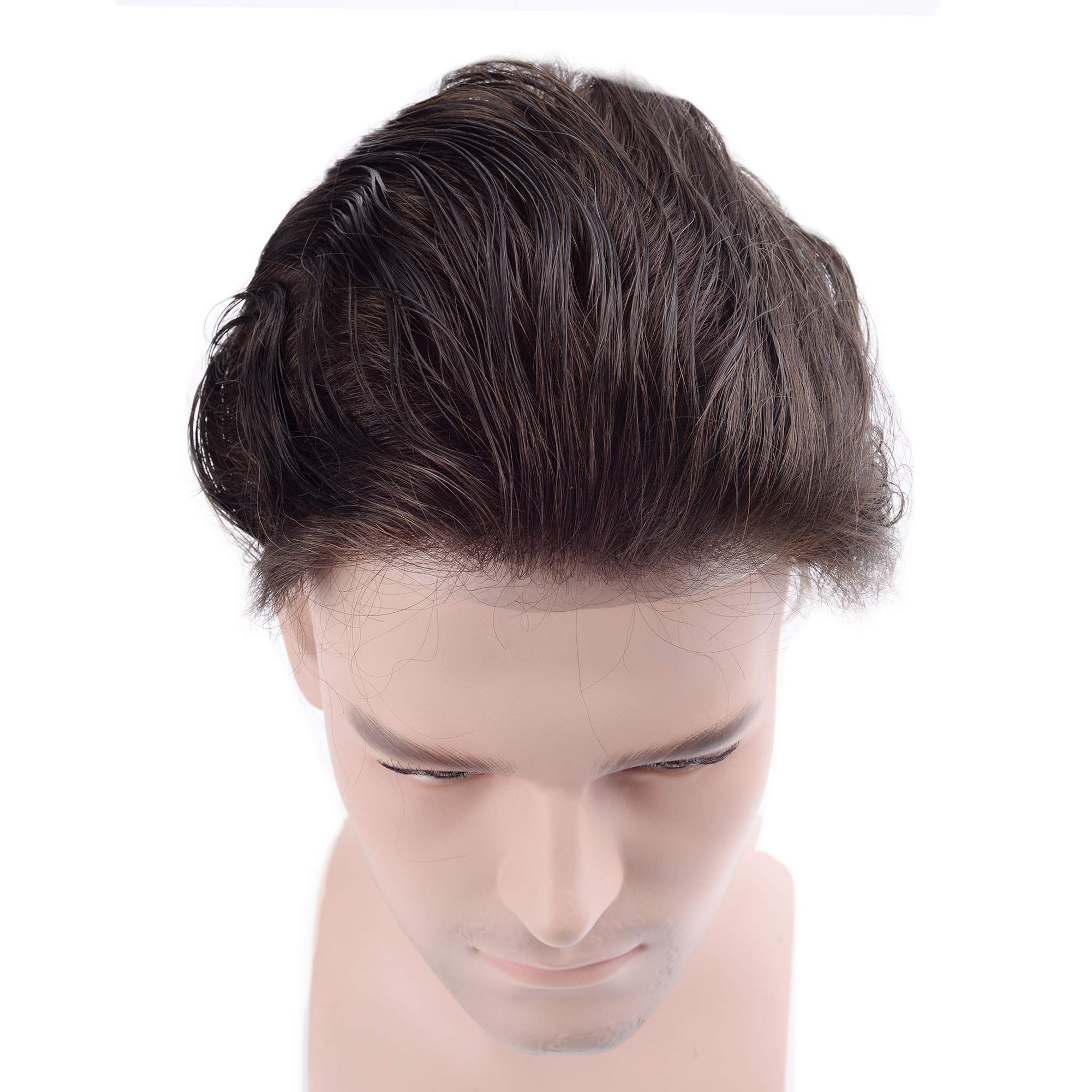 Lordhair Toupee Skin Men's Toupee Human Hair Pieces for Men Natural Hair Replacement Darkest Brown Color 1B (6 Colors Available) by Lordhair (Image #6)
