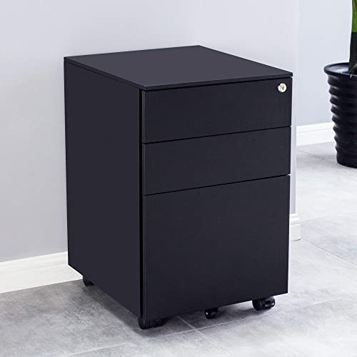 3 Drawer Mobile File Cabinet with Lock, Metal Filing Cabinet for Legal Letter A5 Size, Fully Assembled Except Wheels
